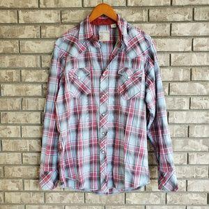 Roper western plaid button snap long sleeve shirt